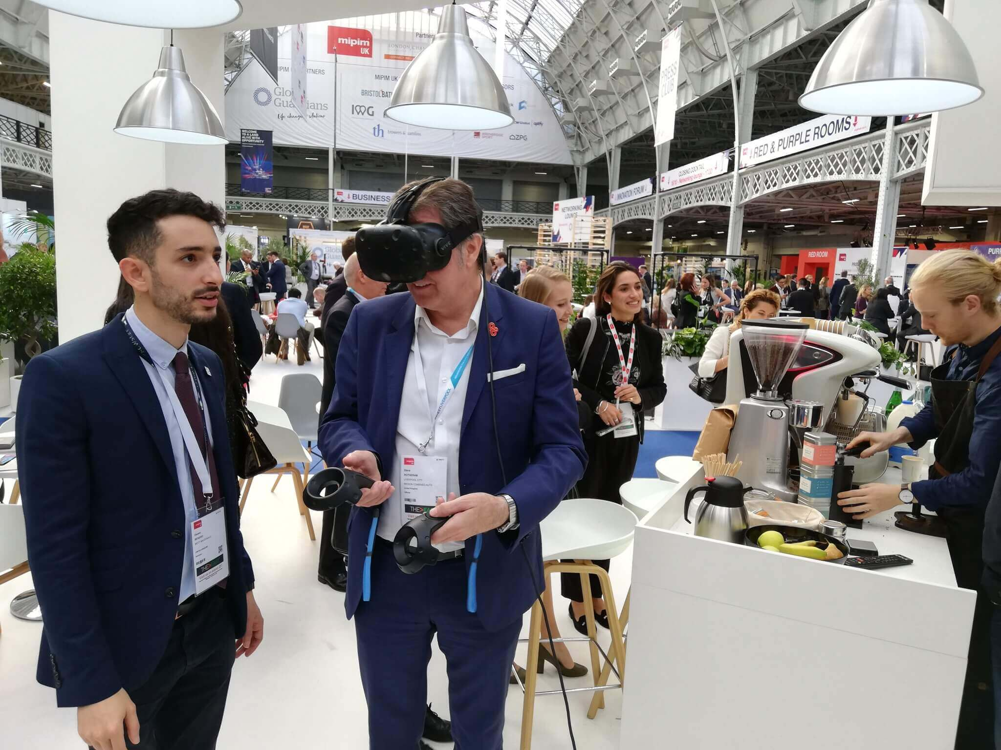 Two men trialling VR technology